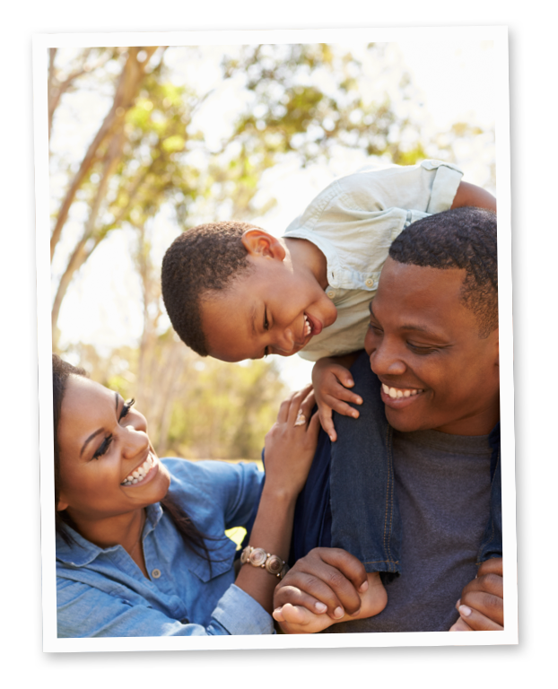 Photo of a family laughing